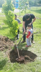 Chris Laferty, kindergarten teacher, Ellison School, is assisted by Ellison students during the school's Arbor Day celebration, which featured the planting of a red maple tree donated by the Vineland Environmental Commission.