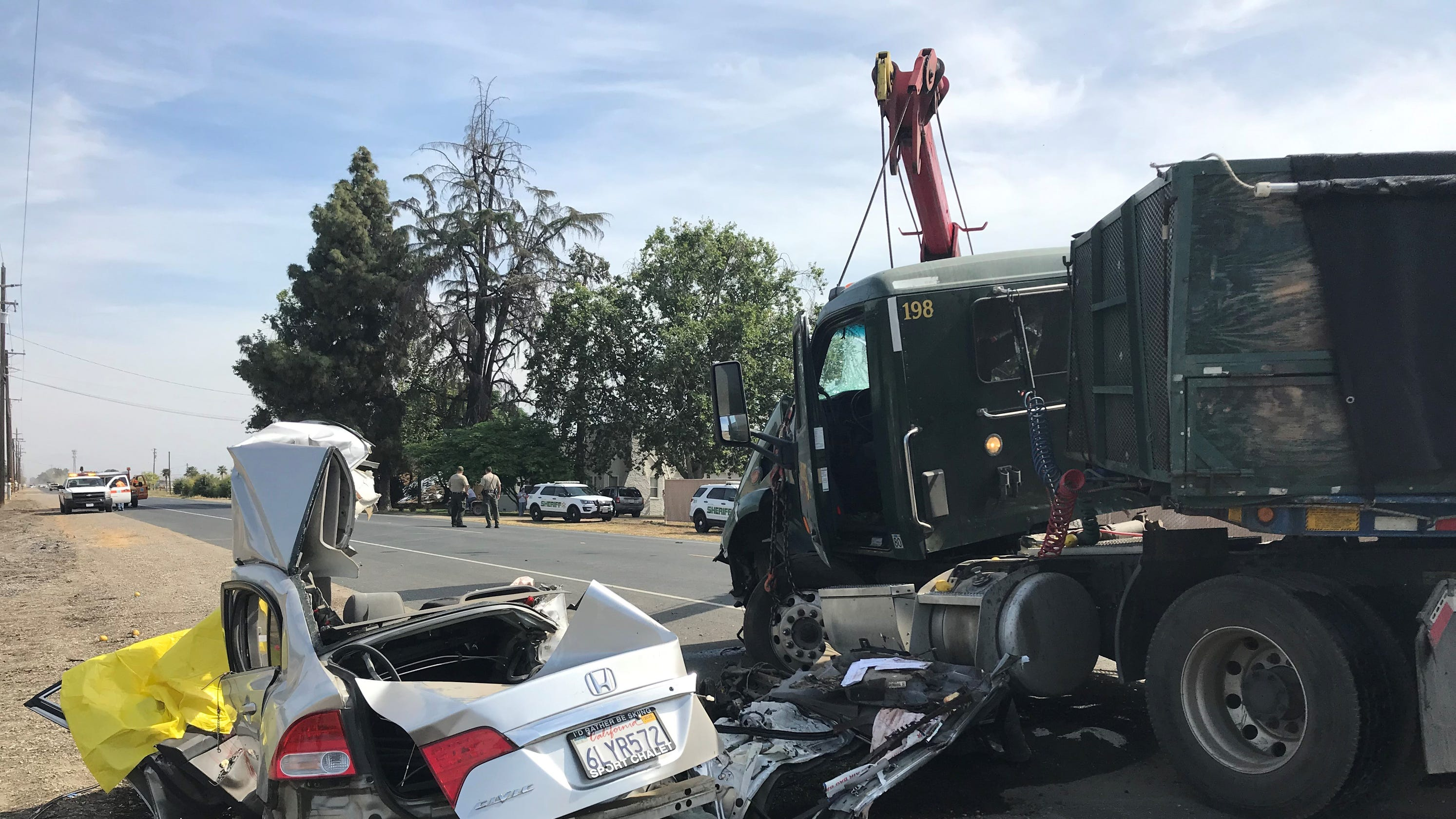 Two dead in collision near north Visalia, Highway 63 closed