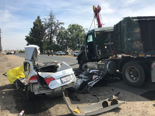 Two people are dead after slamming into a big rig truck Monday morning just north of Visalia. California Highway Patrol officers are on scene of the fatal collision at Highway 63 (Dinuba Boulevard) and Avenue 336, just north of Visalia city limits.