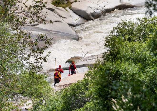 "Tulare County Sheriff Department Search and Rescue continue to search along the Middle Fork of the Tule River about one mile down from the ""Stairs"" on Monday, May 13, 2019. A 16-year-old boy was last seen after he fell into the water at the Stairs about 6 p.m. Sunday."