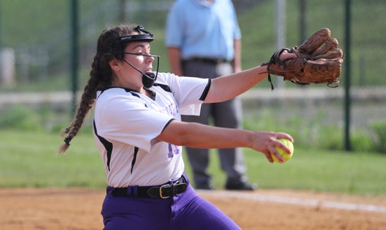 Clarkstown North's Kaitlyn Fudge pitches during a game with Clarkstown South at North May 10, 2019.