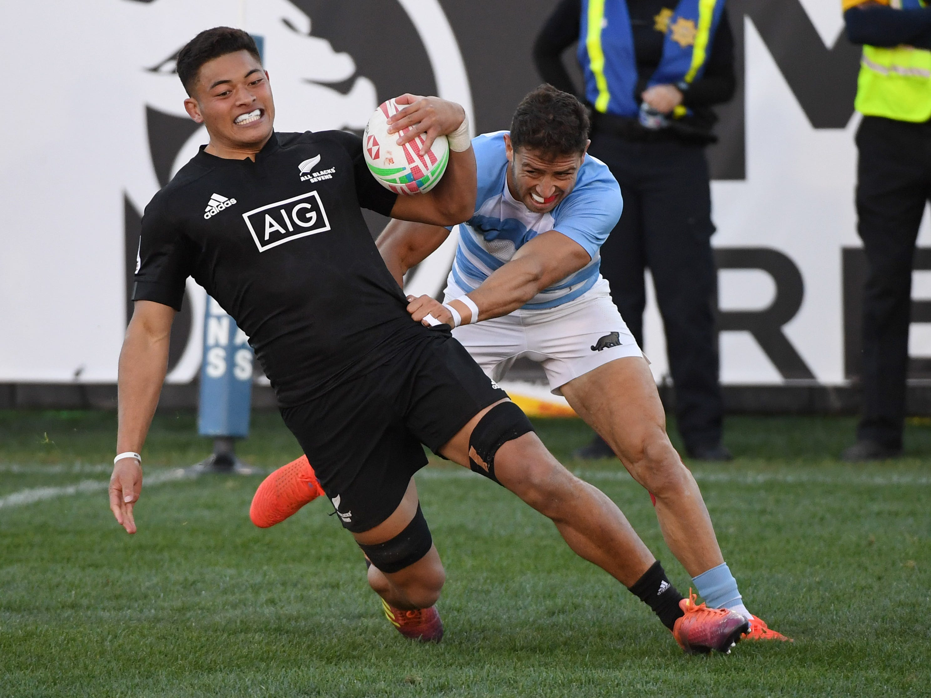 Tone Ng Shiu #3 of New Zealand scores a try against Liam McNamara #12 of Argentina during the USA Sevens Rugby tournament at Sam Boyd Stadium on March 3, 2019 in Las Vegas, Nevada. New Zealand won 26-19. A. Jon Prusmack revived the USA Sevens, moved it to Las Vegas and grew it to one of the most popular tour stops on the international calendar.
