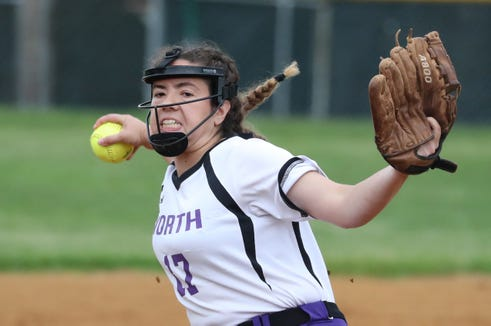 Clarkstown North's Kaitlyn Fudge pitches during a game against Clarkstown South on May 10, 2019.