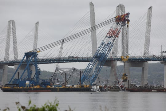The Left Coast Lifter super crane works on transporting pieces of the eastern portion of the Tappan Zee Bridge, Monday, May 13, 2019. The section had been brought down by an explosion in January 2019.