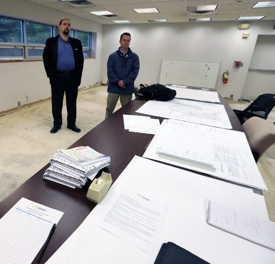 Christopher Graziano Suez director of New York operations, left, and John Moolick vice president - general manager in Tilcon's old office building in West Nyack, where Suez plans on moving their headquarters to May 13, 2019.