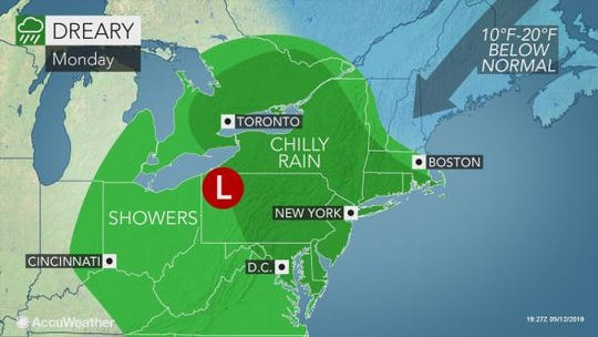 Rain is expected to drench the Lower Hudson Valley on May 13, 2019.
