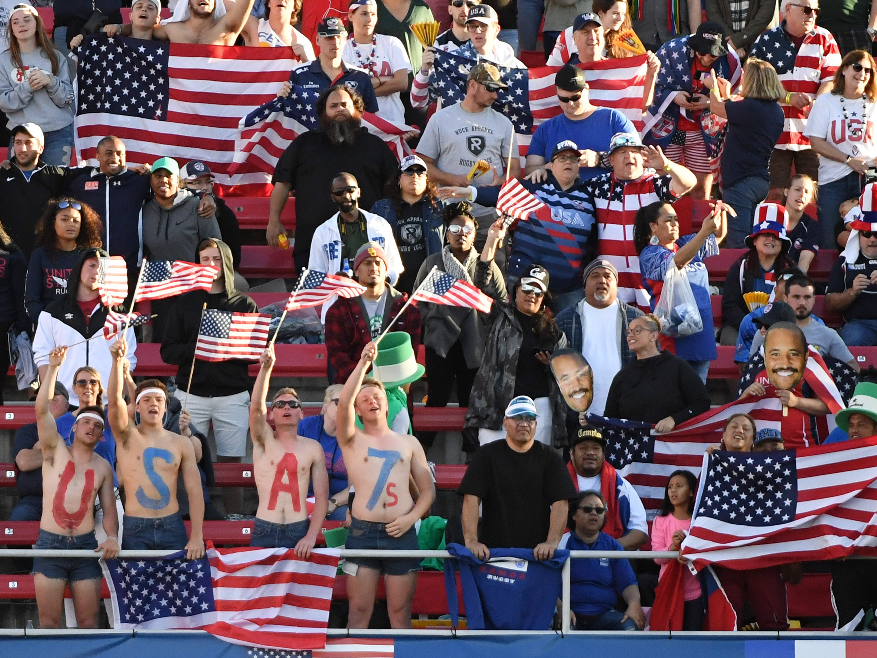 United States fans cheer in the stands during the team's Cup Final match against Samoa during the USA Sevens Rugby tournament at Sam Boyd Stadium on March 3, 2019 in Las Vegas, Nevada. The United States won 27-0.  A. Jon Prusmack revived the USA Sevens, moved it to Las Vegas and grew it to one of the most popular tour stops on the international calendar.