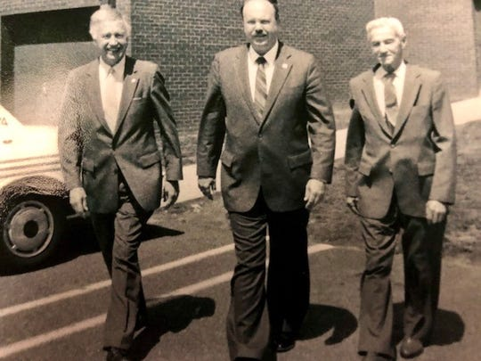 Rockland succession of sheriff, Raymond Lindemann, far right, Thomas Goldrick, far left, and James Kralik, center
