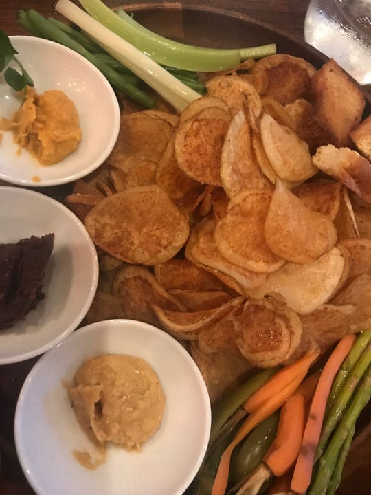 Hummus three ways is a dish on the menu now at The Pines in Rehoboth Beach.