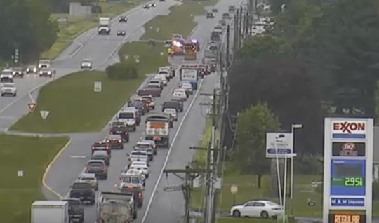 Traffic moves along in the shoulder after a crash at Del. 1 and Old Cemetery Road, according to DelDOT.