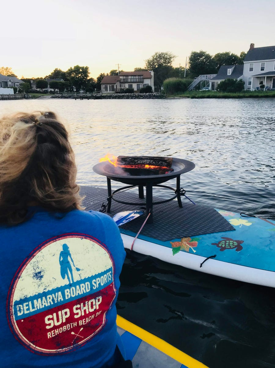 """Delmarva Board Sport Adventures' """"Floating Fire Pit with S'mores"""" returns for a second year, starting this weekend in Dewey Beach."""