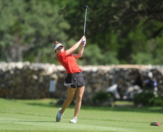 Holliday's Scotta Anderson tees off Monday during the first round of the Class 3A Tournament at Grey Rock Golf Course