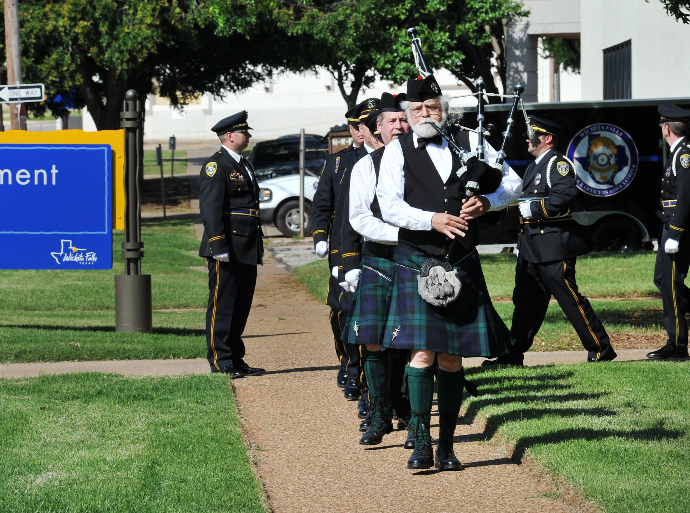 Wichita Falls police honored fallen officers during the department's annual police memorial service held in front of the police department, Monday morning.