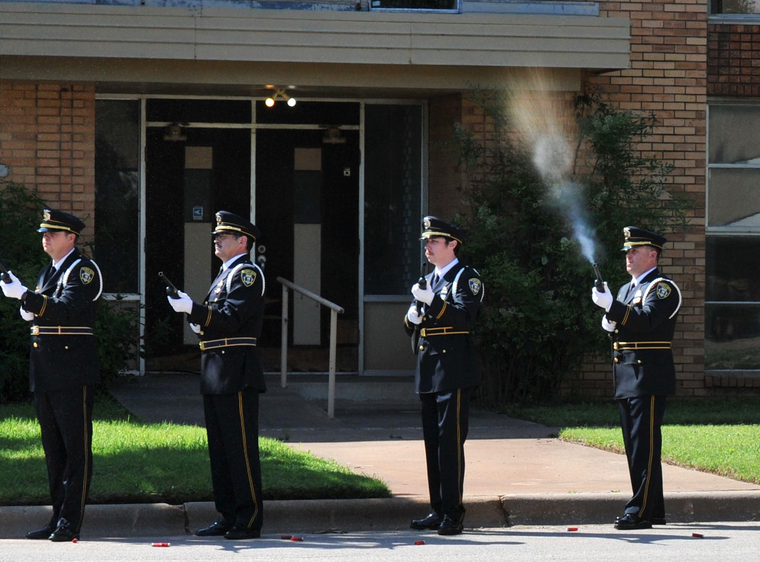 The Wichita Falls Police Honor Guard saluted fellow fallen officers Monday morning during the department's annual memorial service held in front of the police department, Monday morning.