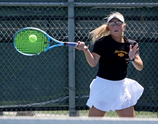Midwestern State's Casie Curry, ranked #62 nationally, competes in a match against St. Mary's Alice Thane Monday, May 13, 2019, in the NCAA DII South Central Regional at the MSU Tennis Center.