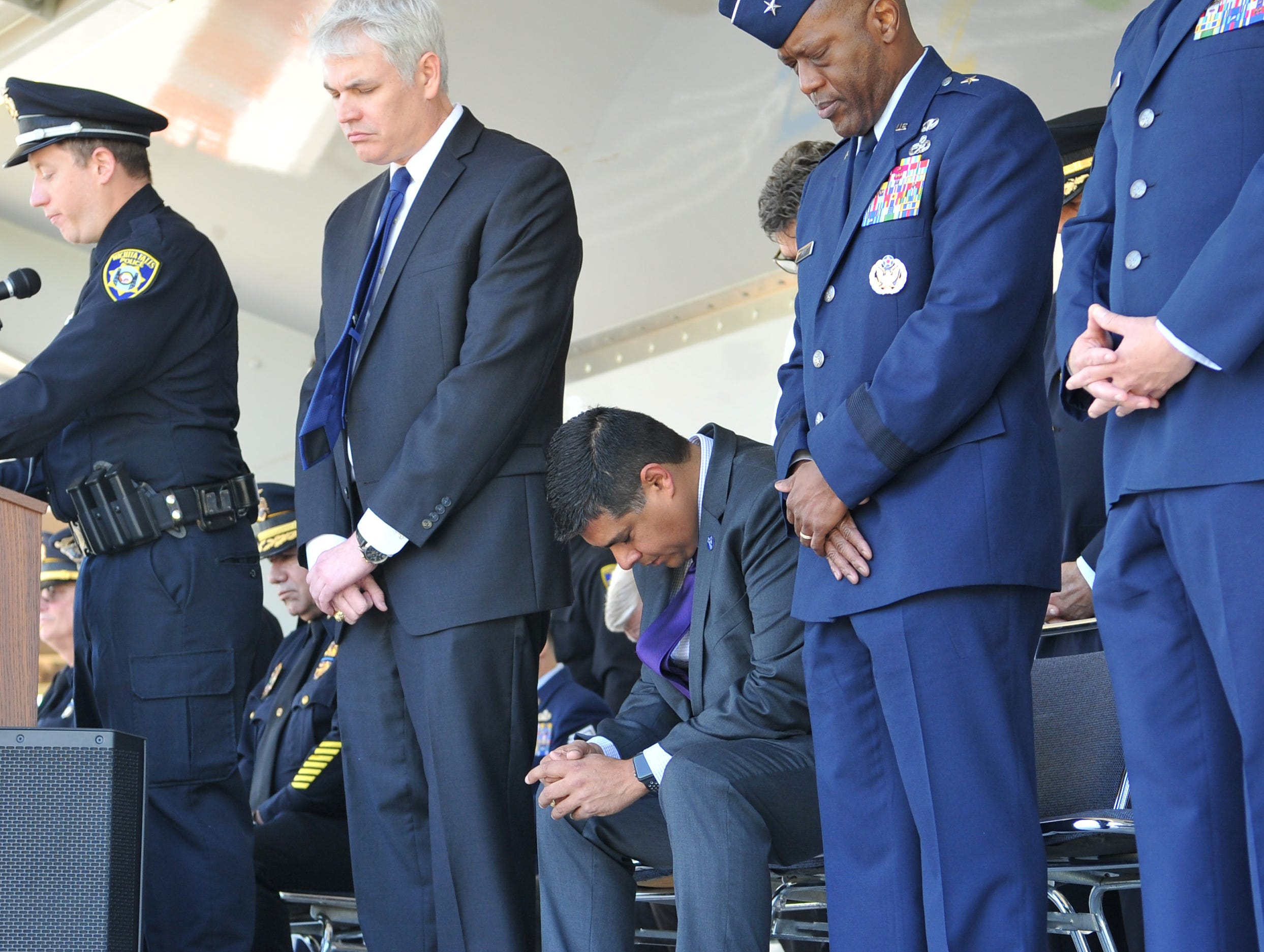 Dignitaries from Sheppard Airforce Base, Wichita Falls, and Wichita County paid their respect during the Tribute to the Fallen ceremony held Monday morning during the Wichita Falls police department's annual Police Memorial Service.