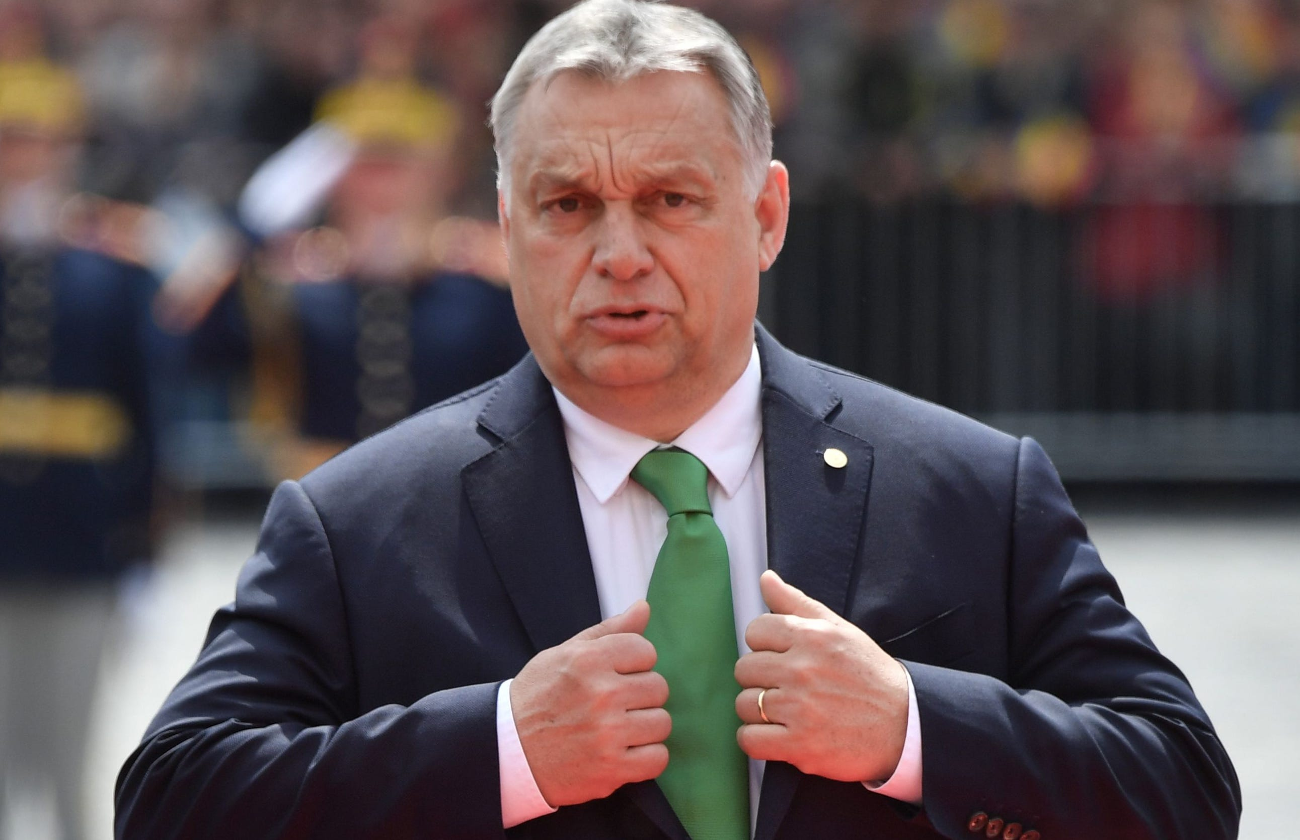 Hungary's Prime Minister Viktor Orban reacts as he arrives for an EU summit in Sibiu, Romania on May 9, 2019.