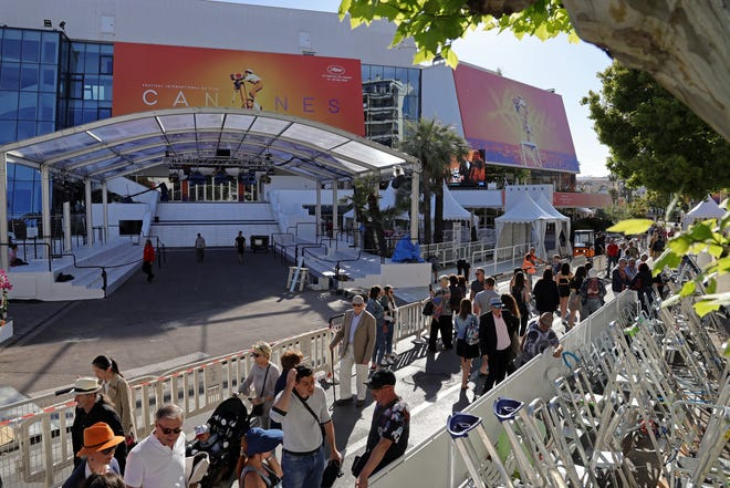 Preparations are made to the Palais du Festival ahead of the 72nd annual Cannes Film Festival, which kicks off Tuesday.