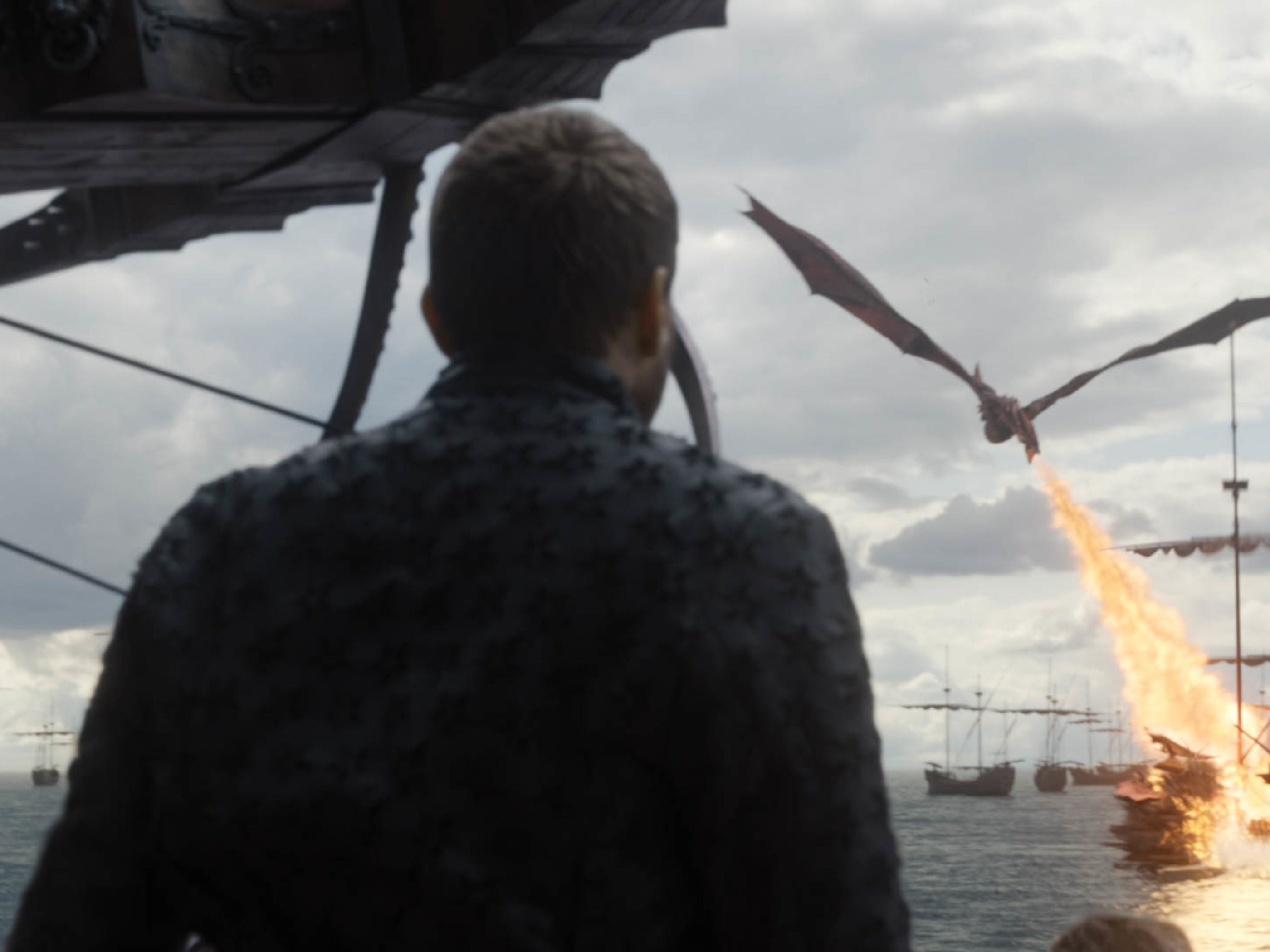 Euron Greyjoy (Pilou Asbaek) watches as Daenerys's dragon, Drogon, destroys his fleet in the penultimate episode of 'Game of Thrones.'