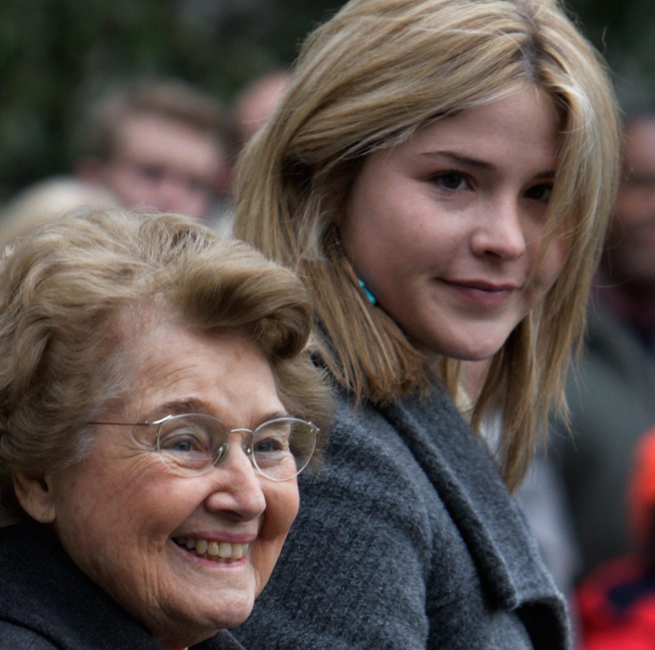 President Bush's daughter Jenna Bush, right, walks with her grandmother Jenna Welch, Friday, Dec. 21, 2007, as they depart the White House with the president for a trip to Camp David, Md.