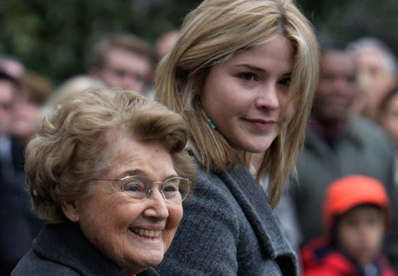 Jenna Bush Hager's, right, grandma and namesake Jenna Welch, left, died at age 99, two days before Mother's Day. She and Laura Bush wrote tributes to her on Instagram.
