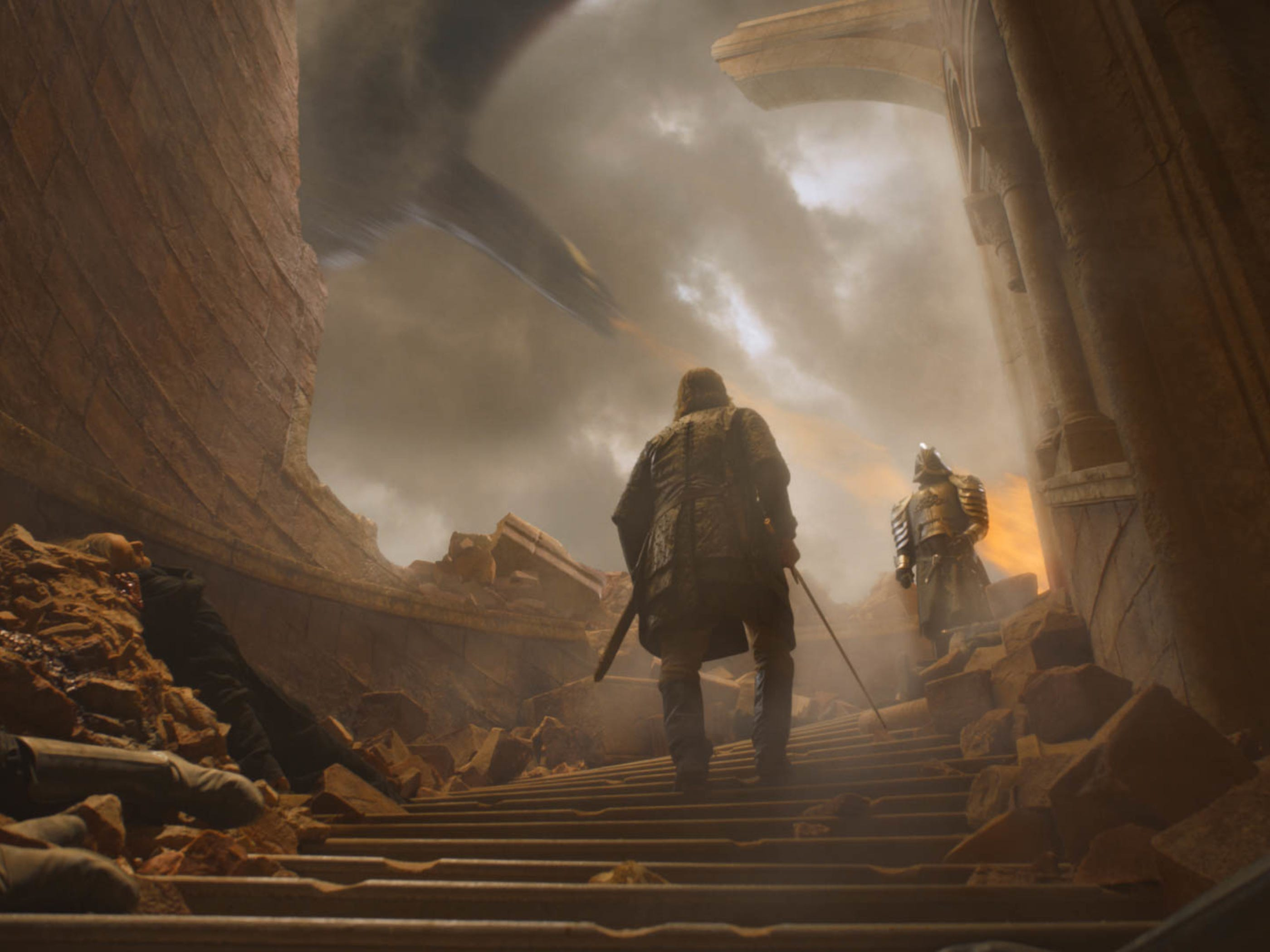 """Sandor """"The Hound"""" Clegane (Rory McCann), left, and Gregor """"The Mountain"""" Clegane (Hafþór Júlíus Björnsson) prepare to face off in the first - and last - annual Cleganebowl."""