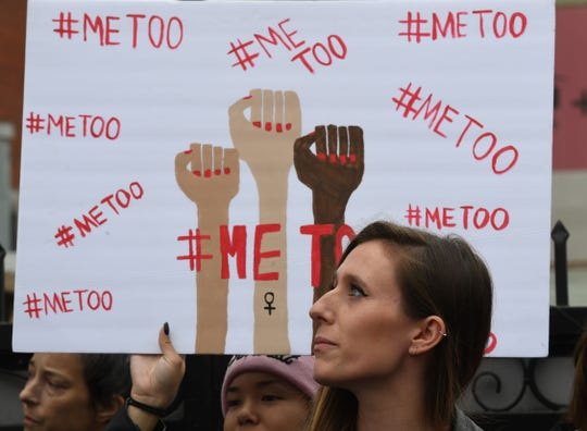#MeToo victims and supporters at a march in Hollywood, California on Nov. 12, 2017.
