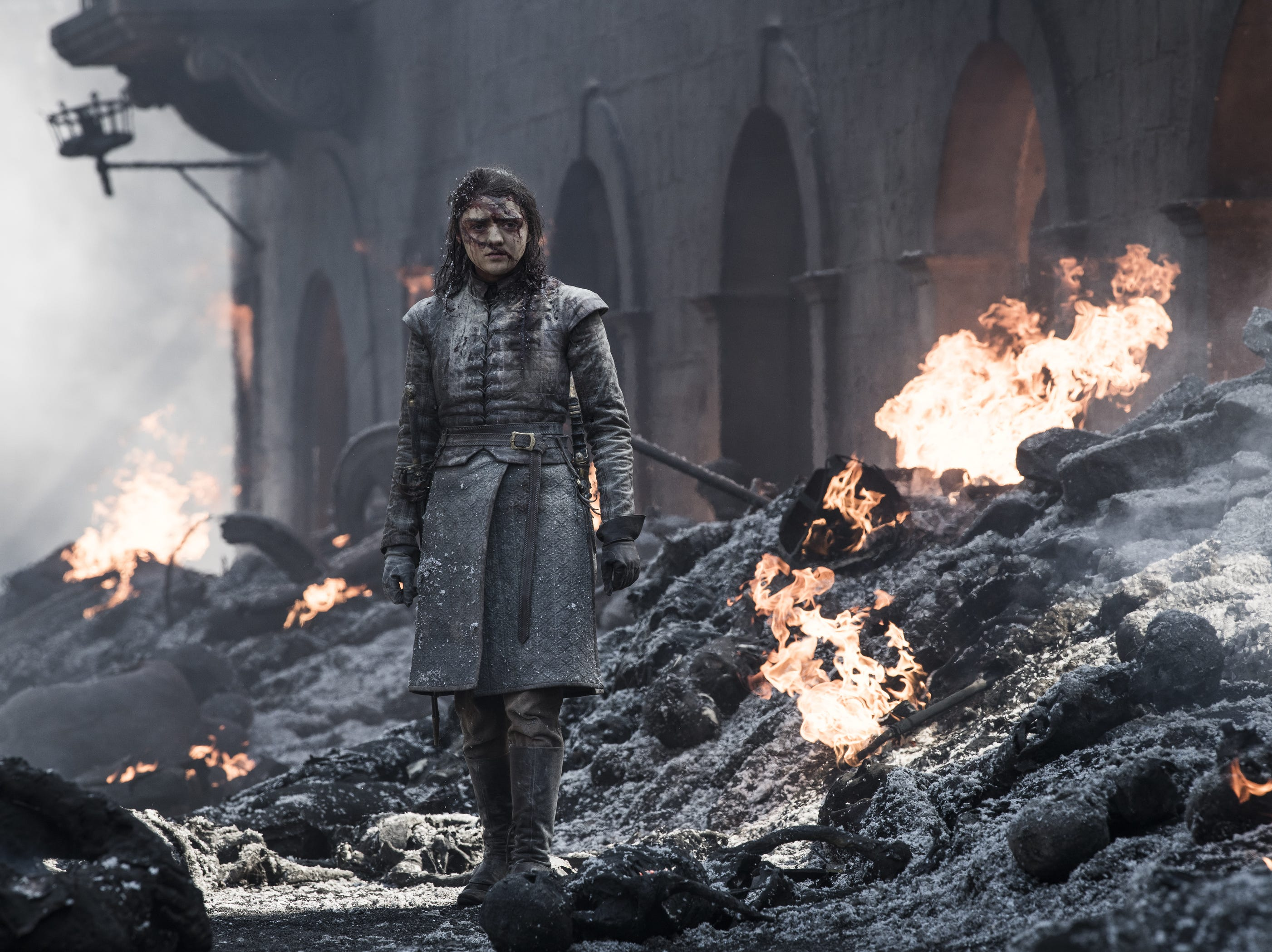 Arya Stark (Maisie Williams) takes in the King's Landing carnage.