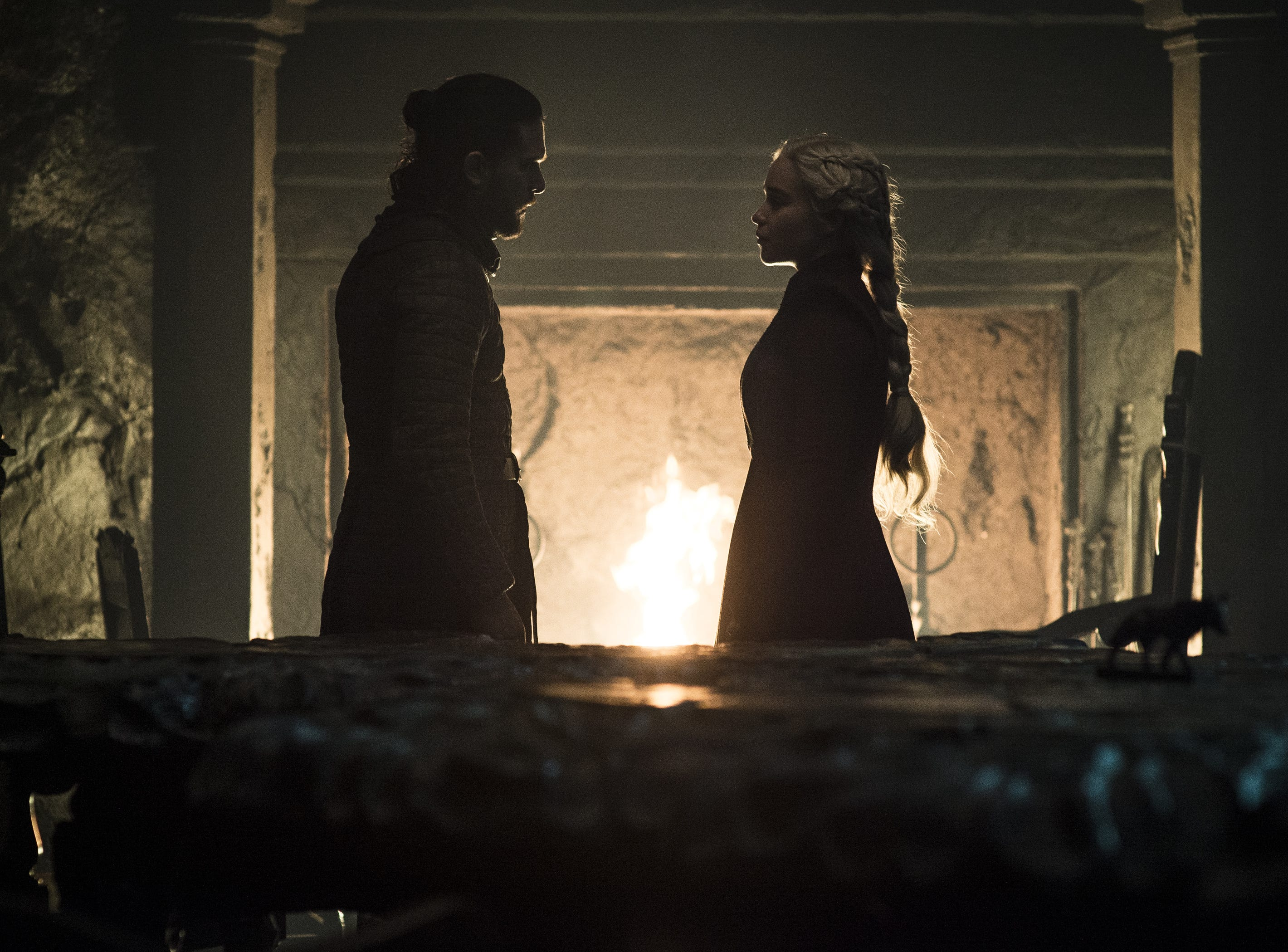 Jon Snow (Kit Harington), left, has lost his ability to persuade his queen, Daenerys Targaryen (Emilia Clarke), in the second-to-last episode of 'Game of Thrones.'