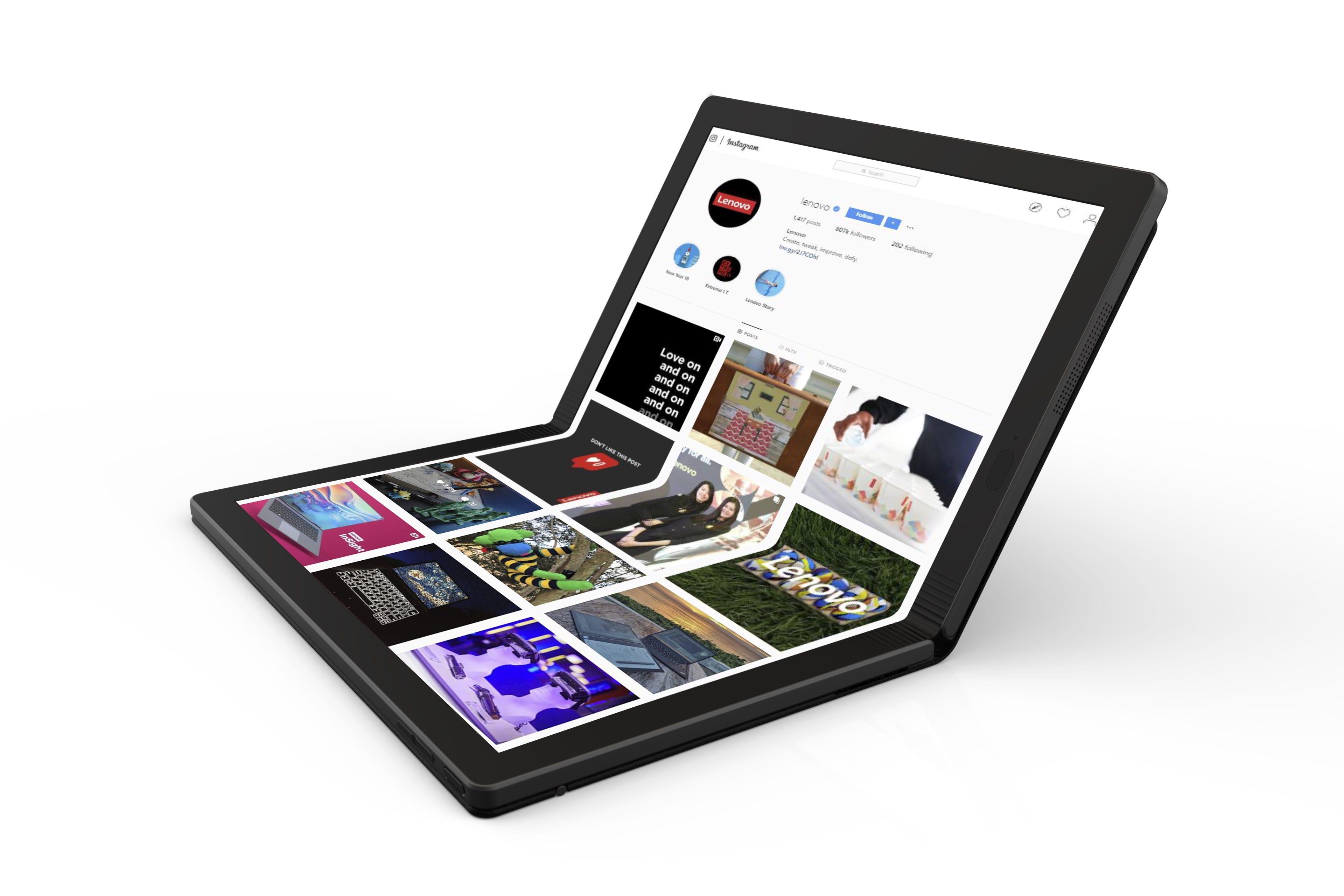 The display on this Lenovo ThinkPad prototype folds.