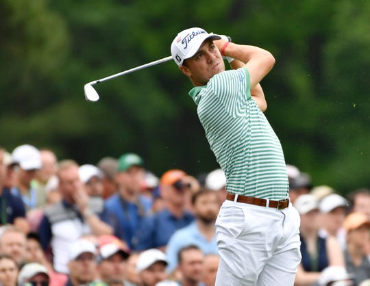 Justin Thomas finished tied for 12th at last month's Masters, but says his wrist is not yet fully healed to play the PGA Championship.
