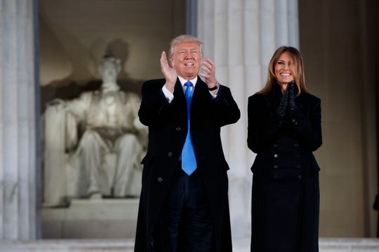 Then-President-elect Donald Trump and wife Melania Trump at the Lincoln Memorial the day before his inauguration.