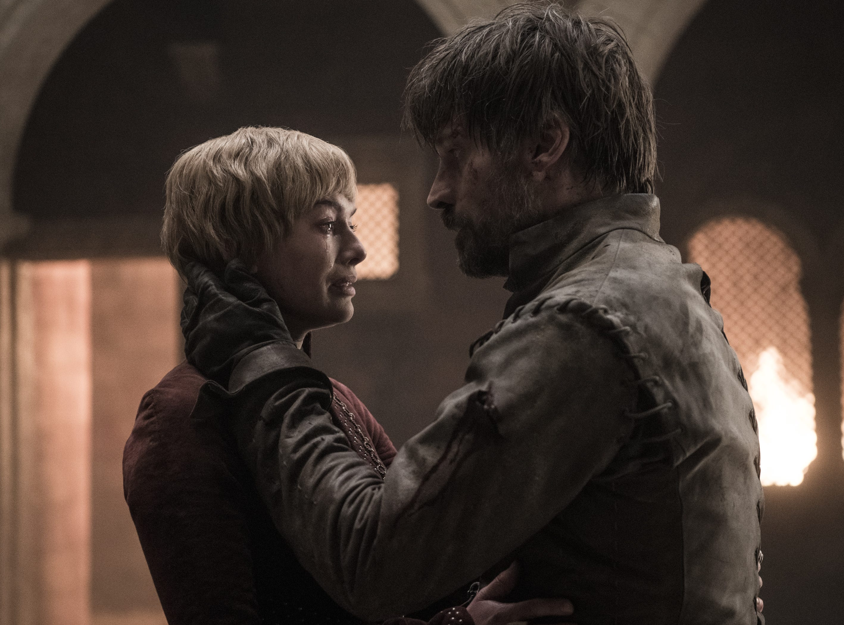 Cersei Lannister (Lena Headey) and her brother, Jaime (Nikolaj Coster-Waldau) share what appears to be their final moment before dying.