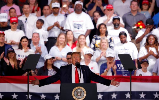 IN this May 8, 2019, photo, President Trump speaks at a rally in Panama City Beach, Fla.