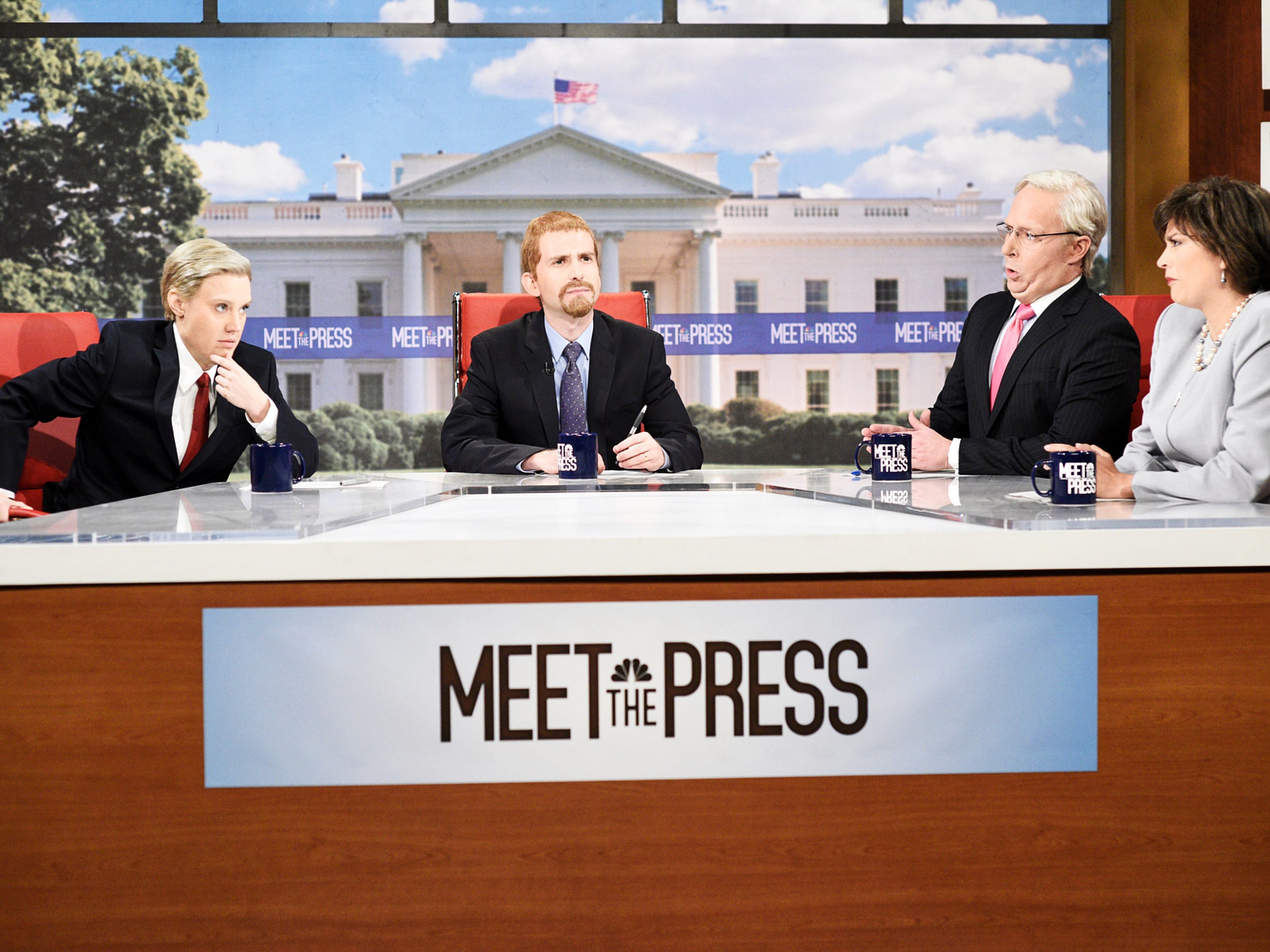 """The show's cold open, a parody of """"Meet the Press"""" with Kyle Mooney playing Chuck Todd, featured senators too scared to stand up to the president, including Kate McKinnon as Lindsey Graham, Beck Bennett as Mitch McConnell and Cecily Strong as Susan Collins."""