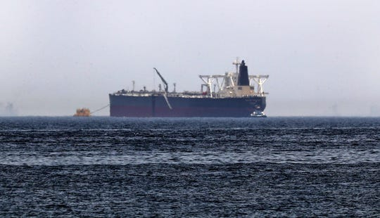 "The crude oil tanker, Amjad, which was one of two reported tankers that were damaged  in mysterious ""sabotage attacks"", off the coast of the Gulf emirate of Fujairah on May 13, 2019."
