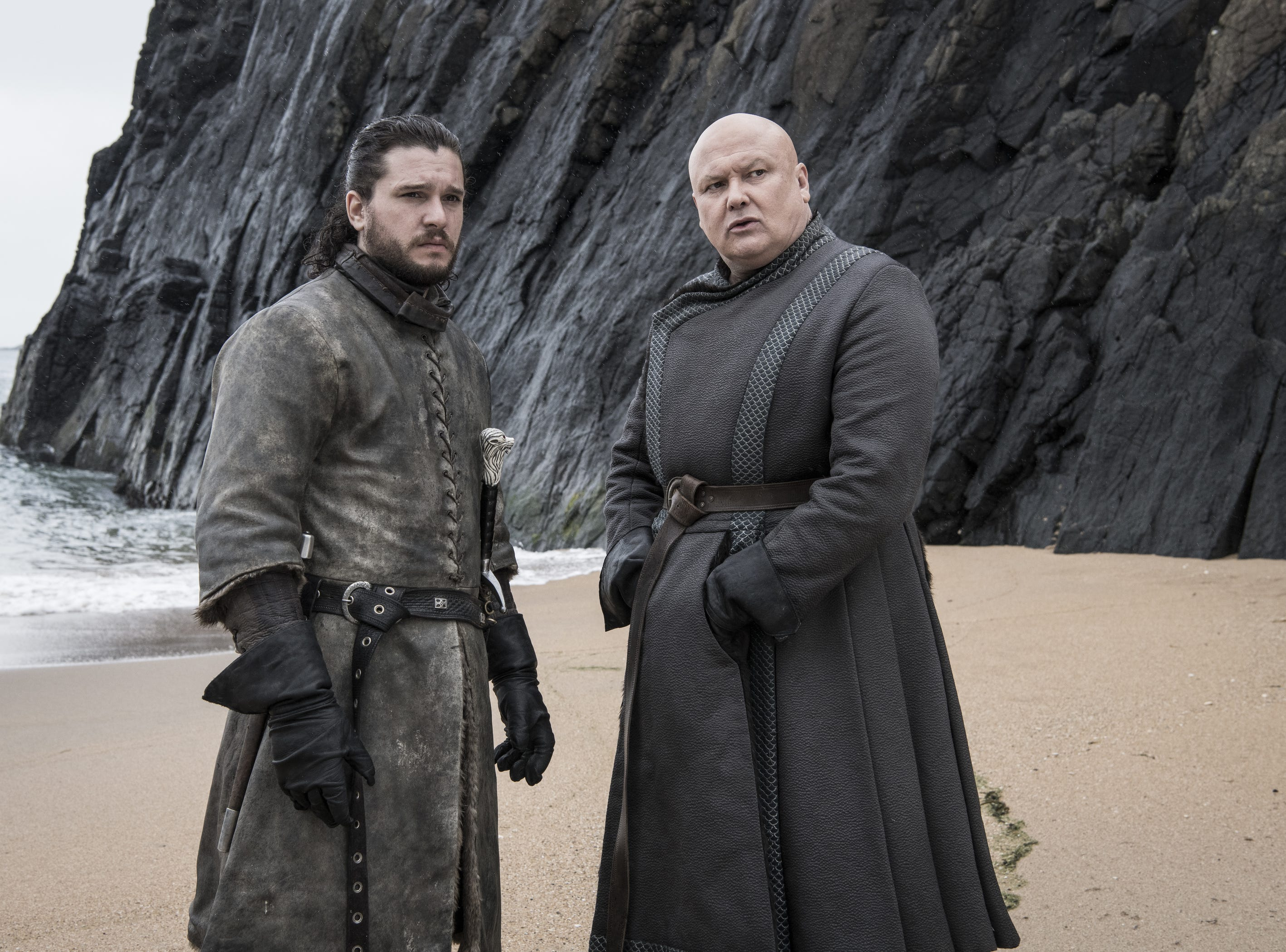 This conversation with Jon Snow (Kit Harington), left, didn't work out well for Varys (Conleth Hill).