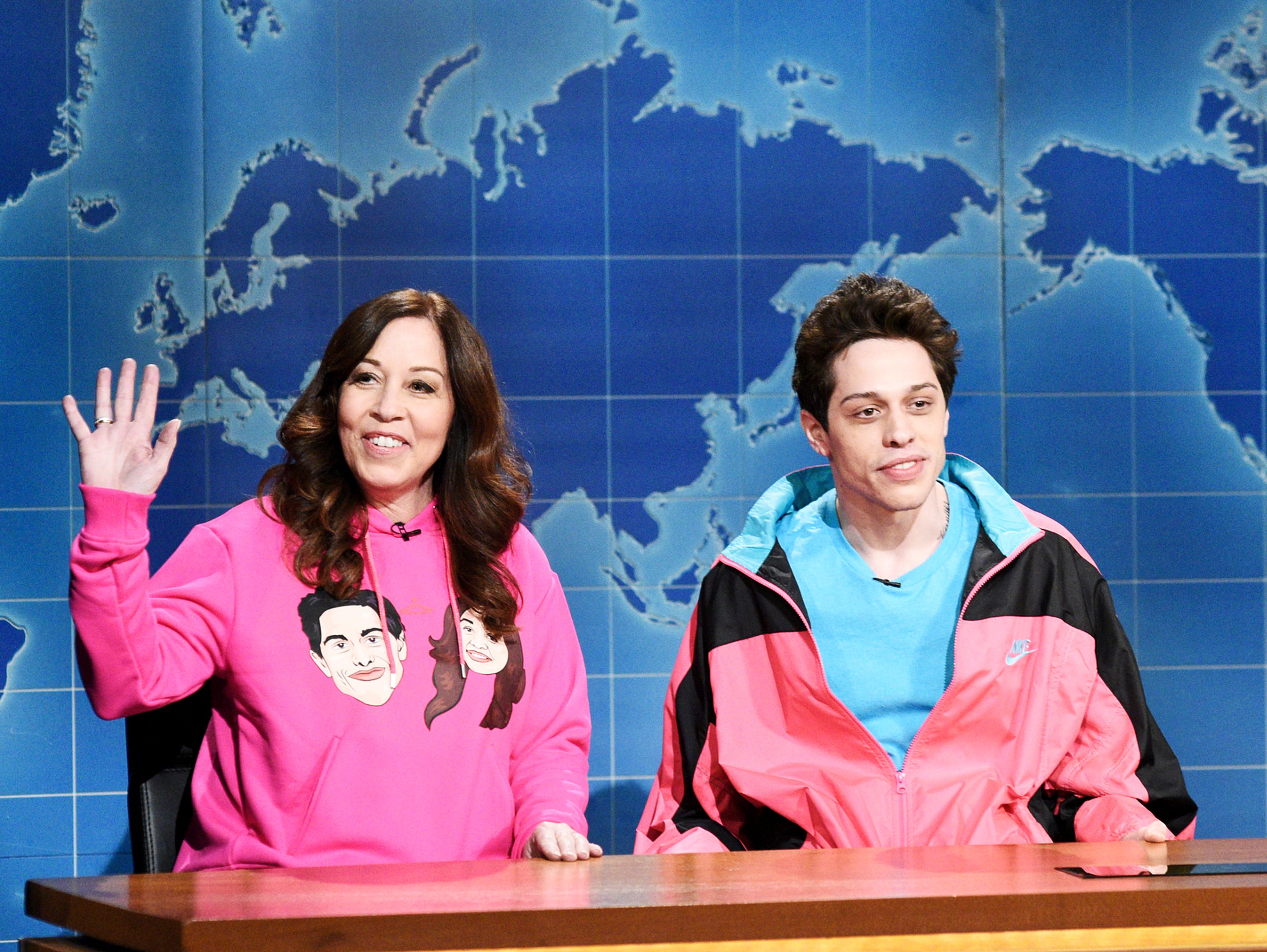 """For Mother's Day, Pete Davidson brought up his own mother, Amy, for """"Weekend Update."""" He tried to get his mom a date with Jon Hamm, who actually did show up during the show's goodbyes. A picture posted on the """"SNL"""" Twitter account later showed Hamm hugging Pete's mom backstage after the show. Nice job, Pete!"""