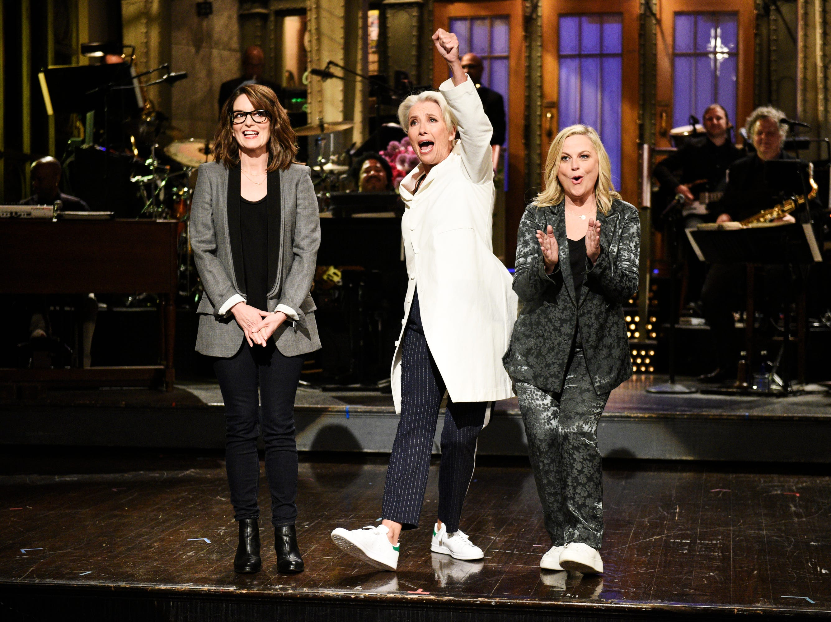 """On the eve of Mother's Day, Emma Thompson brought two special guests up for her opening monologue: former """"SNL"""" stars Tina Fey and Amy Poehler. The trio worked as """"mom interpreters,"""" revealing what moms really mean when they say things to their kids."""