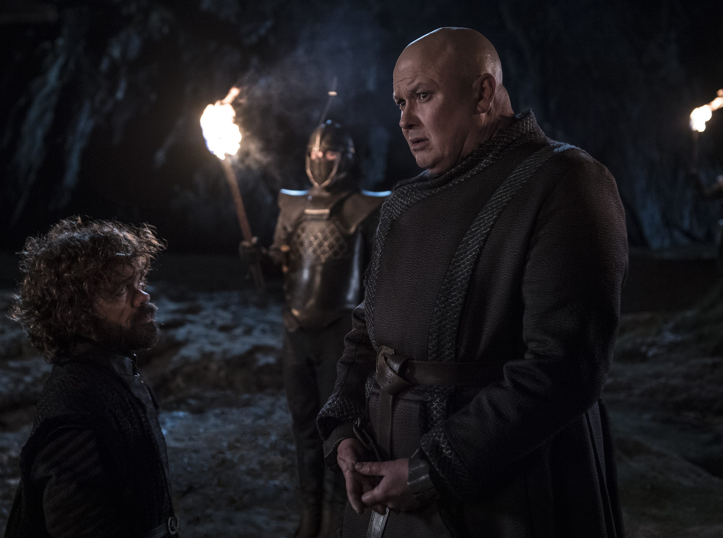 Tyrion Lannister (Peter Dinklage), left, shares a moment with Varys (Conleth Hill) before the Master of Whisperers is barbecued.