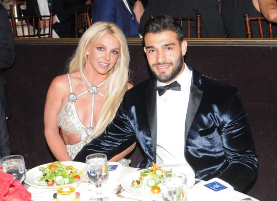 Honoree Britney Spears and Sam Asghari attend the GLAAD Media Awards at The Beverly Hilton hotel on April 12, 2018.
