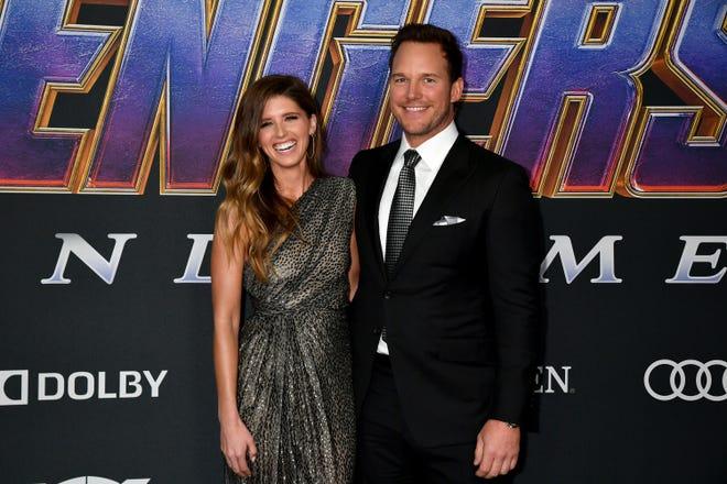 """Katherine Schwarzenegger and Chris Pratt attend the world premiere of  """"Avengers: Endgame"""" on April 22, 2019 in Los Angeles, California."""