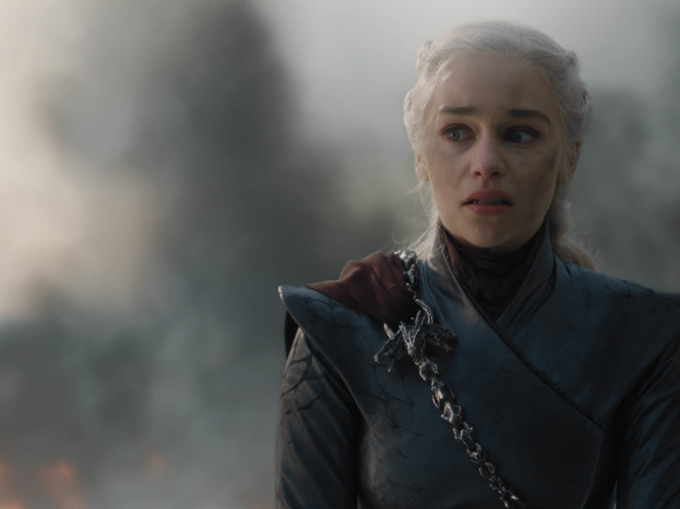 Daenerys Targaryen (Emilia Clarke), paused briefly in triumph, before having her dragon destroy much of King's Landing.