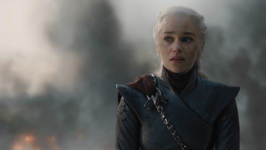 Daenerys Targaryen (Emilia Clarke), paused briefly in triumph, before having her dragon destroy much of King's Landing.