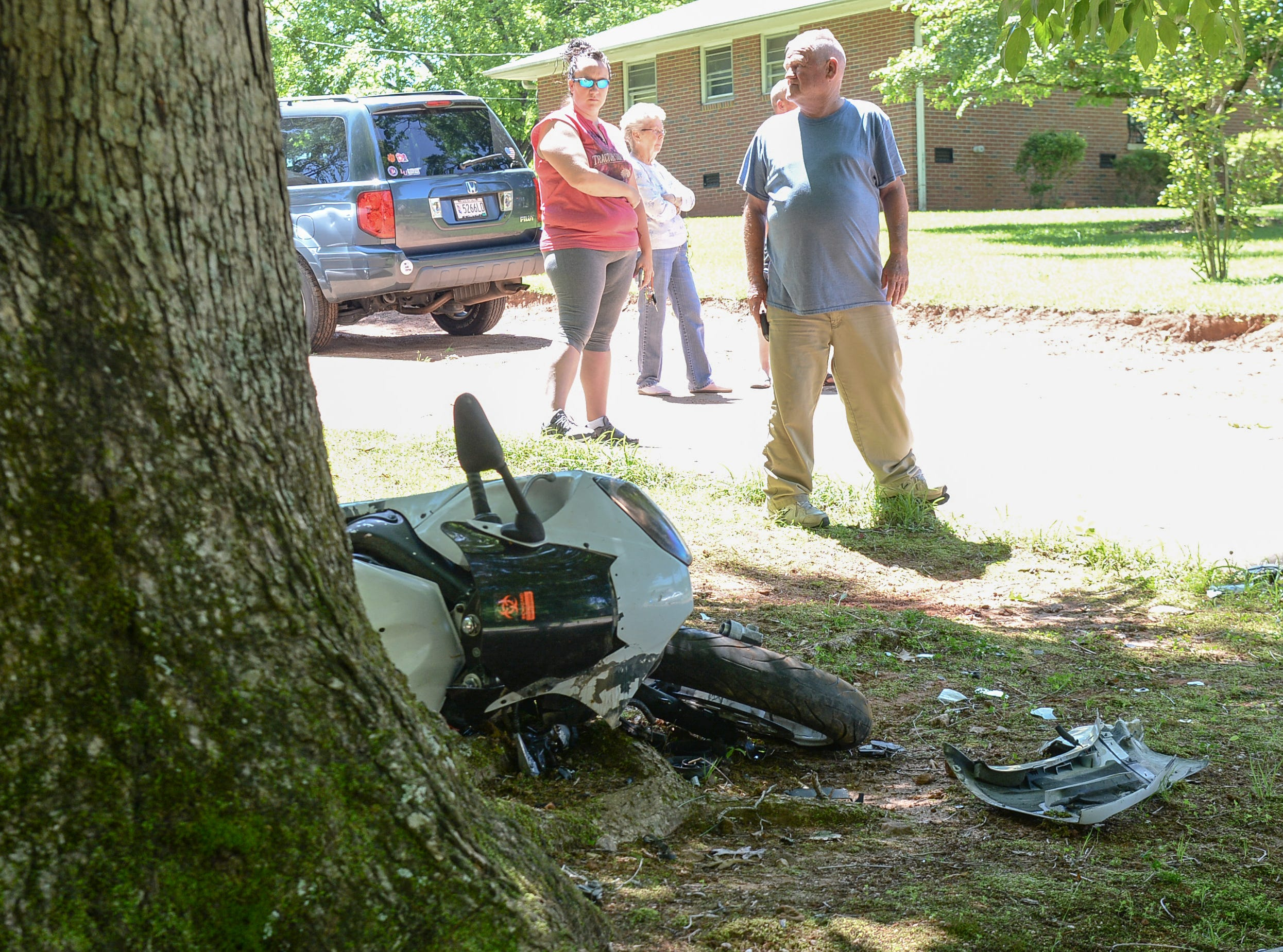 Homeland Park firemen and Medshore responded to a motorcycle accident on Ponce De Leon Drive in Anderson Tuesday.