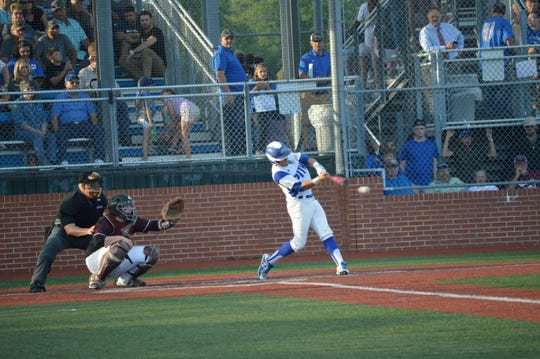 Pitkin sophomore outfielder Ethan West gets a hit against Converse during Monday's Class B championship game.