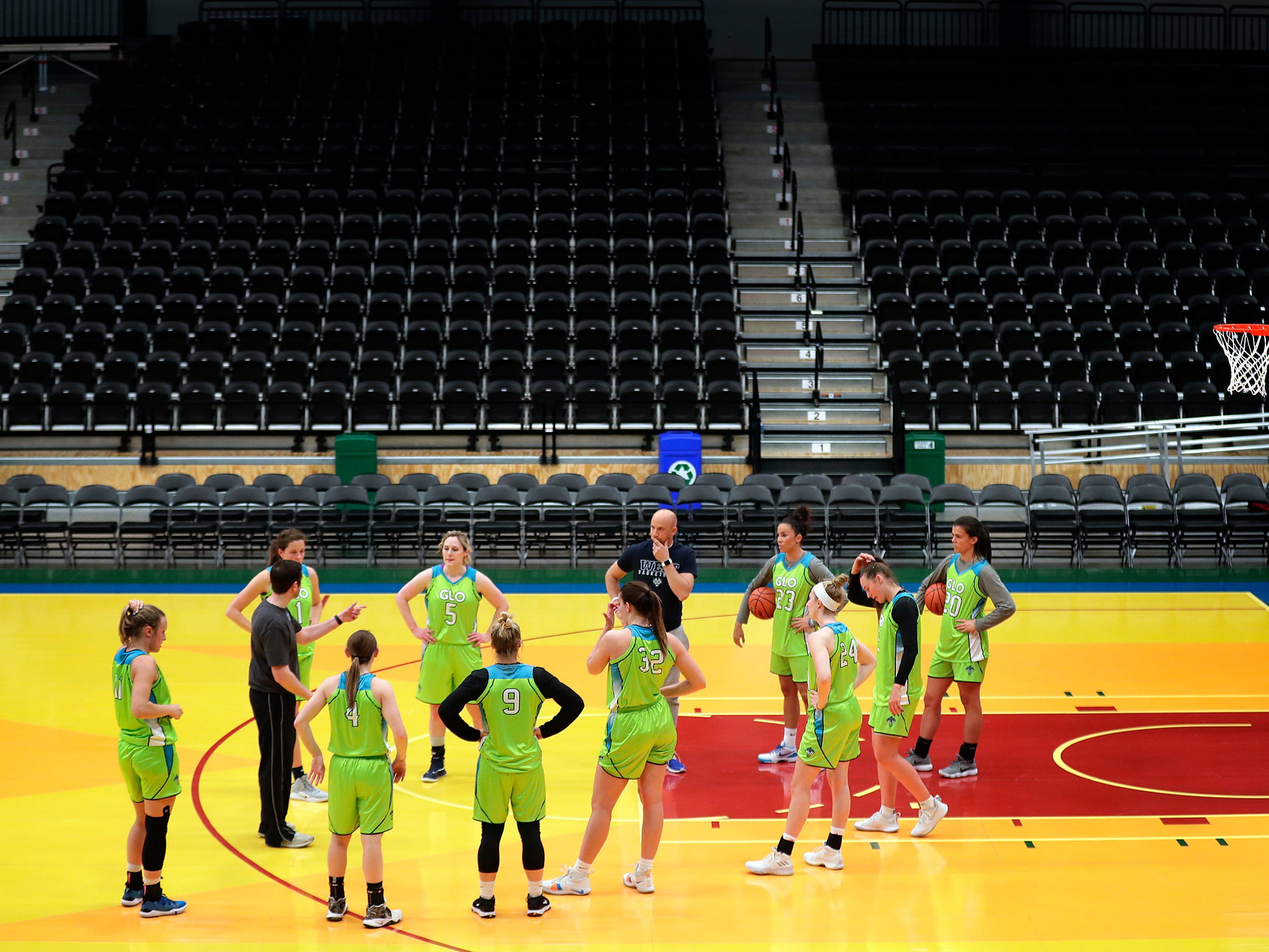 Wisconsin Glo players practice at Menominee Nation Arena on Tuesday, May 7, 2019, in Oshkosh, Wis. The Wisconsin Glo is a professional women's basketball team, they will play their first game on Friday, May 10, 2019 in Oshkosh. 