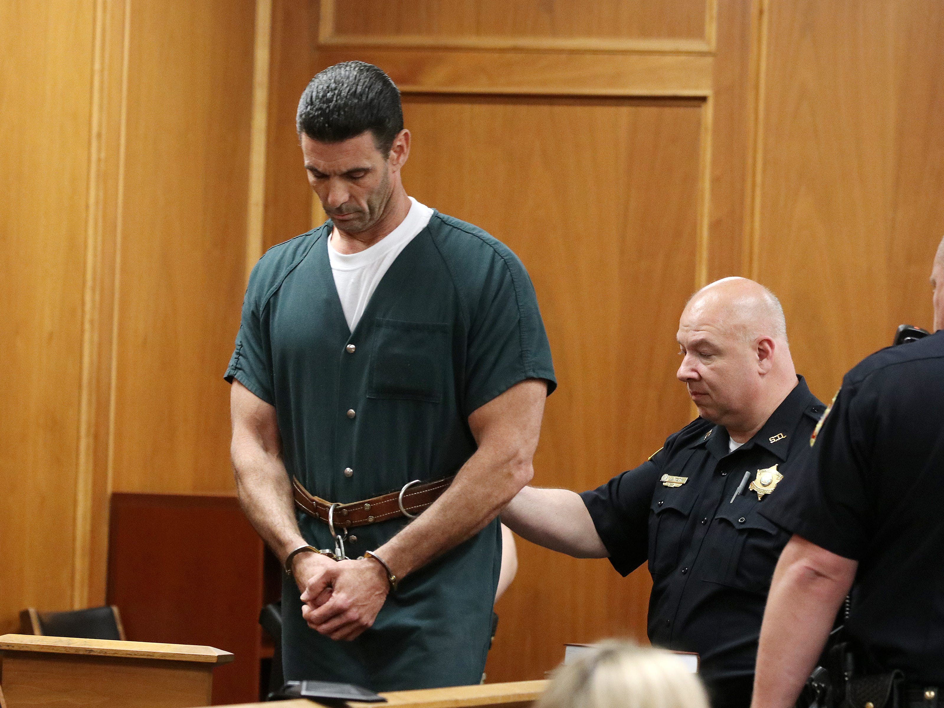 """James Mainello, who is charged in the home-invasion robbery of former """"Real Housewives of New Jersey'' star Dina Manzo and her then-fiance at their Holmdel townhome, appears for his detention hearing before Judge James McGann at the Monmouth County Courthouse in Freehold, NJ Tuesday May 14, 2019."""