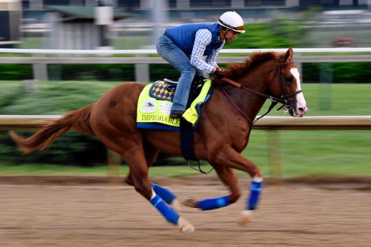Improbable, shown during a workout, is expected to be the favorite in Saturday's Preakness.