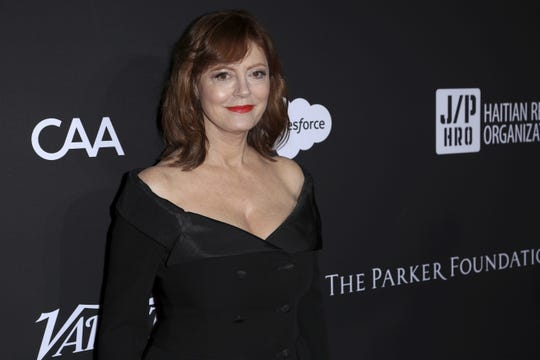 Susan Sarandon arrives at the 2018 Sean Penn J/P Haitian Relief Organization Gala at the Milk Studios on Saturday, Jan. 6, 2018, in Los Angeles.